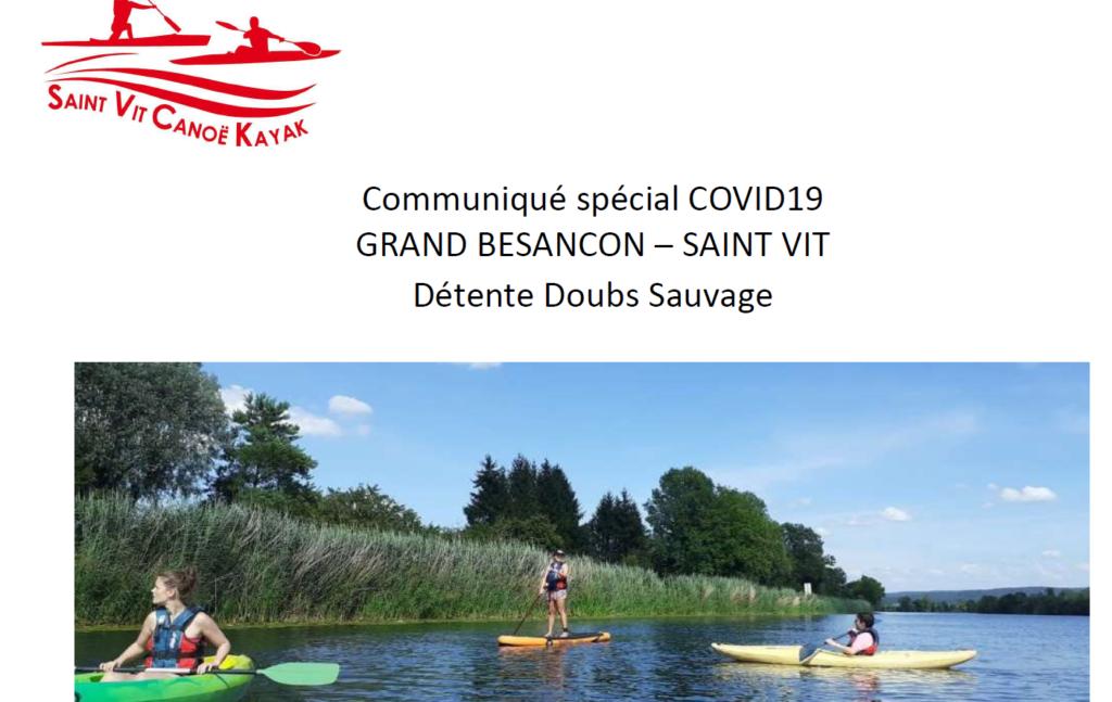 Soutien aux soignants par le Club canoë Kayak de Saint Vit